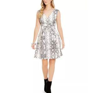 JULIA JORDAN SNAKE-PRINT FIT & FLAIR DRESS.